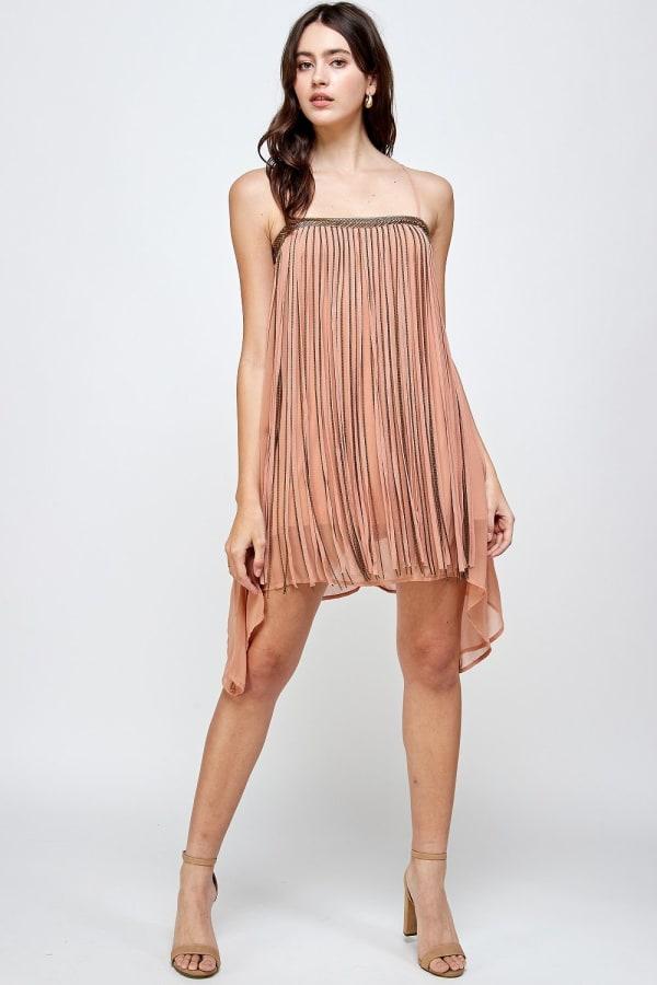 KAII Metal Fringed Mini Dress