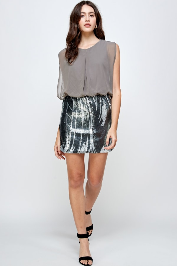 Sequins Bottom Short Mini Dress