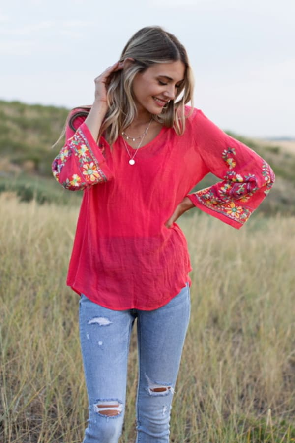 Embroidered Textured V-Neck Top