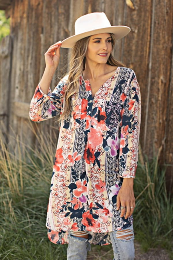 Mix Media Floral Tunic