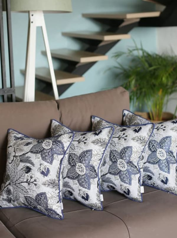 """Set of 4 17"""" Forest Sky Jacquard Throw Pillow Cover in Blue"""