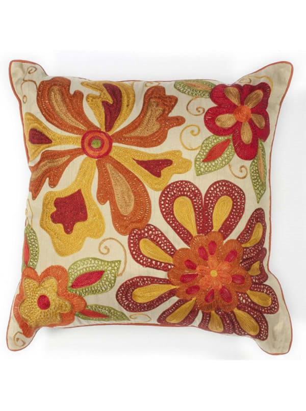 Square Beaded Accent Pillow - Red