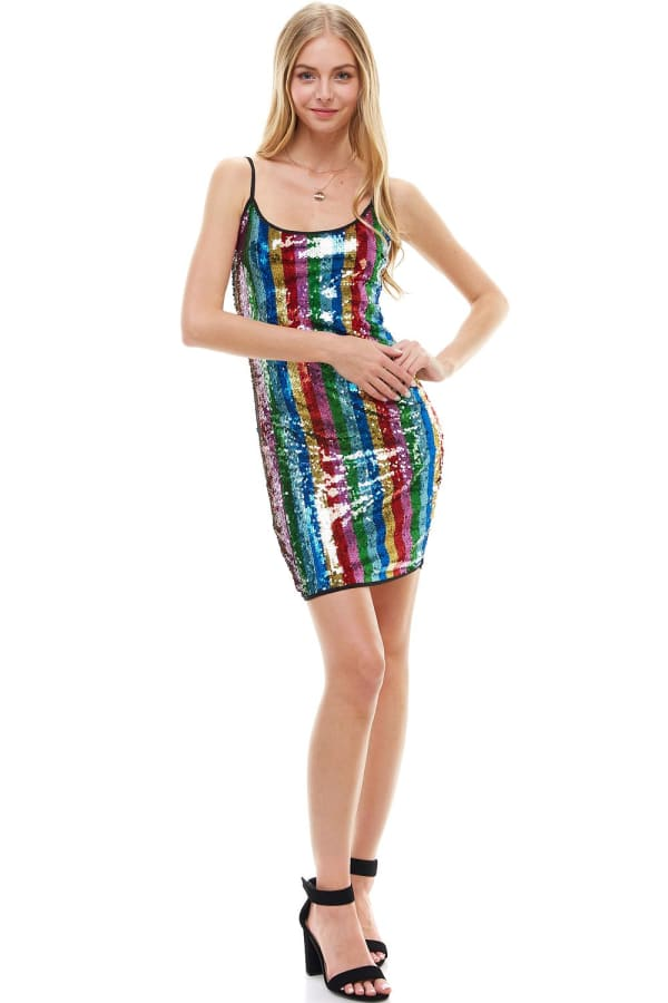 Multi Color Sequin Cami Dress