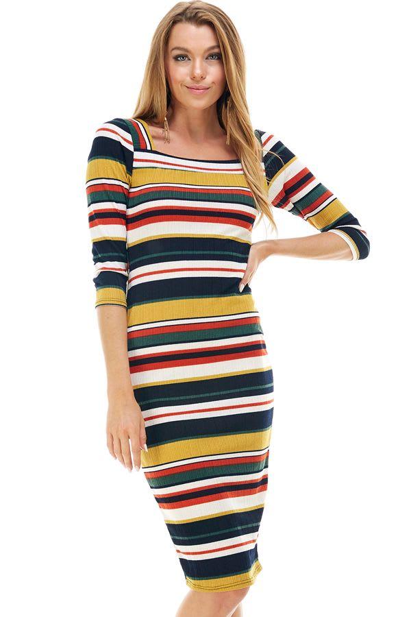 Multi Stripe Rib Fitted Midi Dress
