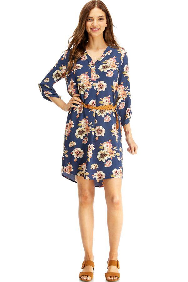 Floral Belted Long Sleeve Shirt Dress