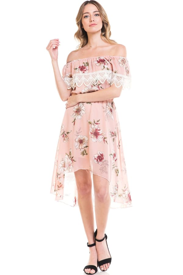 Chiffon Floral Off The Shoulder High-Low Dress