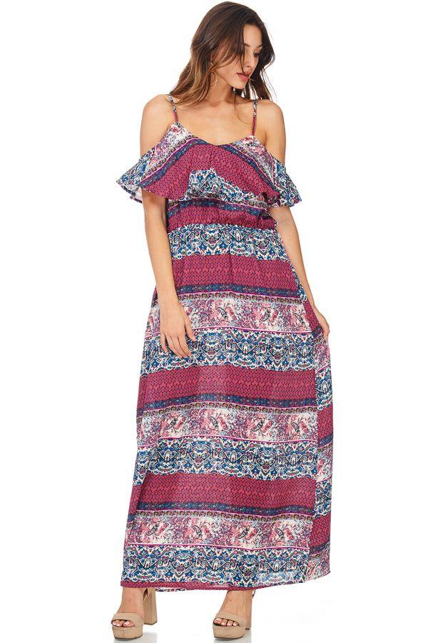 Boho Printed Cold Shoulder Maxi Dress