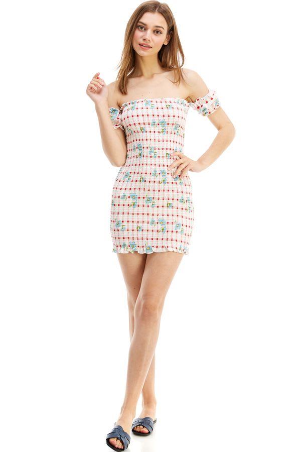 Smocked Off the Shoulder Fitted Dress