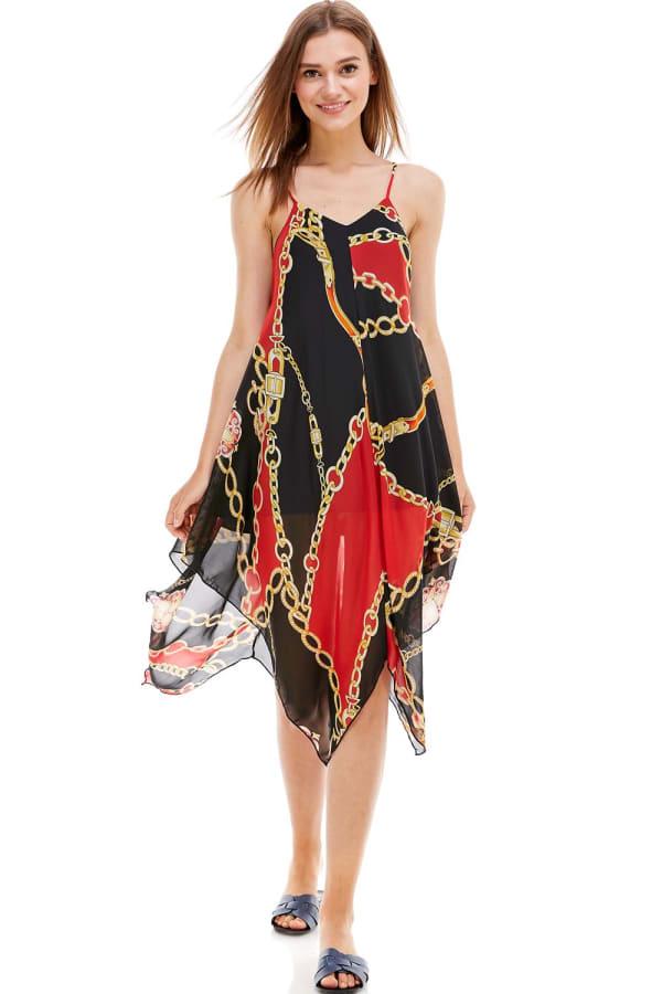 Scarf Printed Hanky Hem Midi Dress