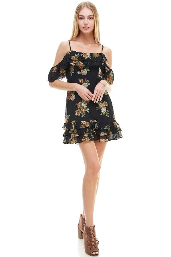 Floral Print Off Shoulder Ruffle Detail Dress