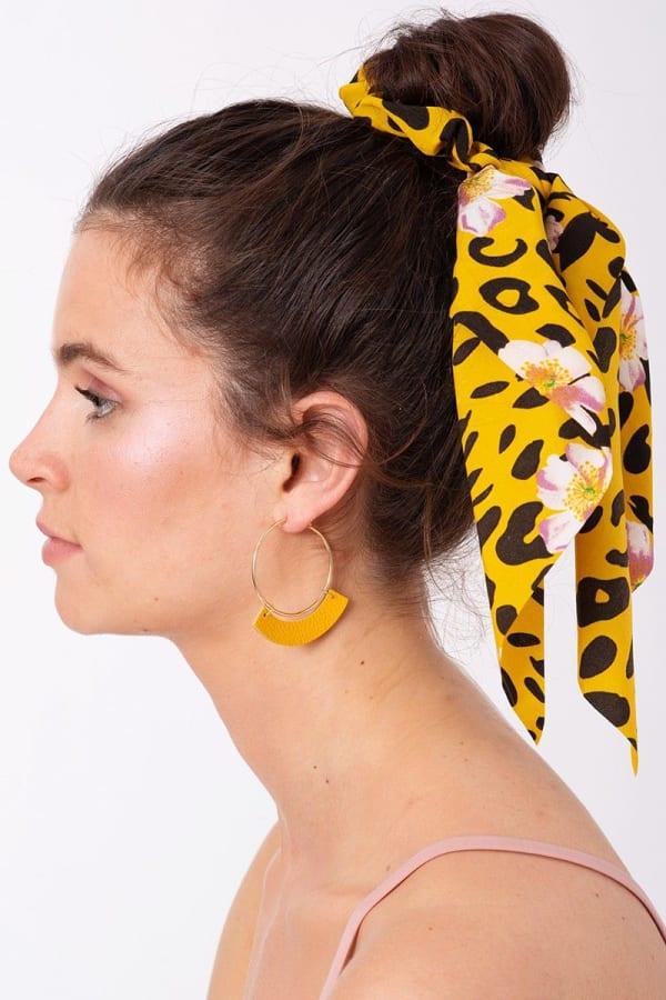 Floral & Animal Mix Print Ponytail Scrunchy