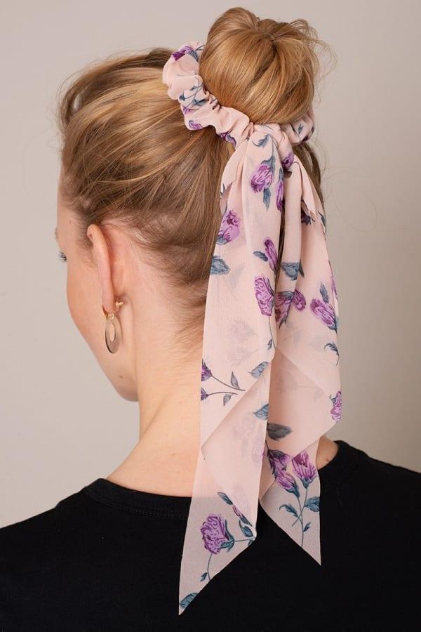 Floral Print Ponytail Scrunchy