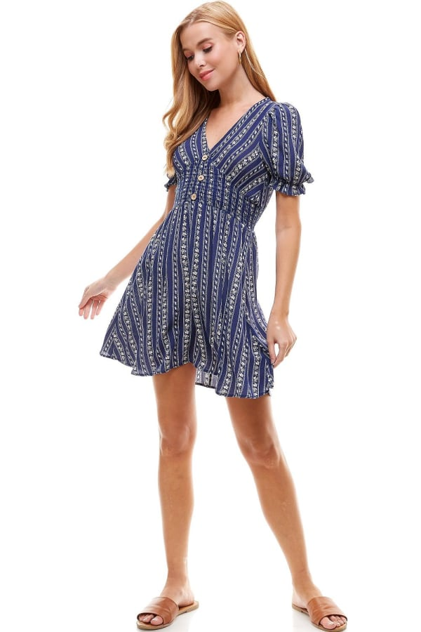 Smocked Waisted Dress With Button Detail