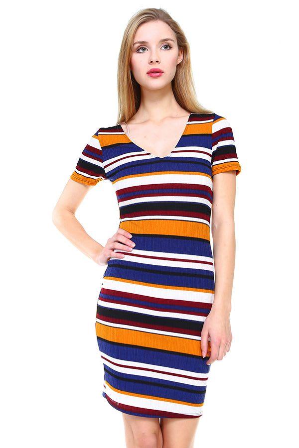 Multi Stripe V-Neck Short Sleeve Dress