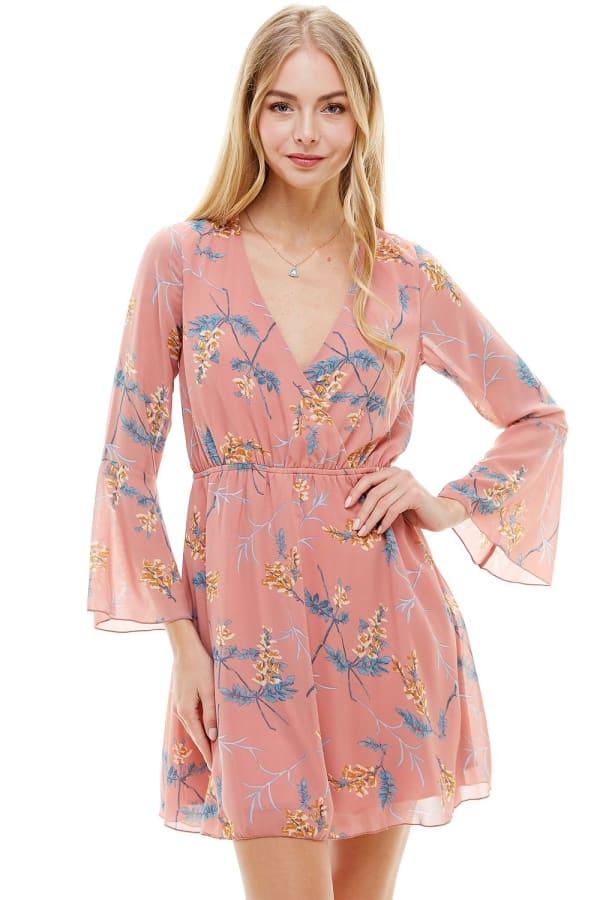 Chiffon Surplice Long Sleeve Dress