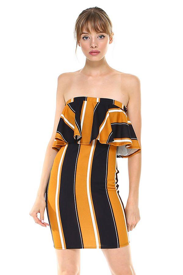 Bold Stripe Flounce Tube Dress