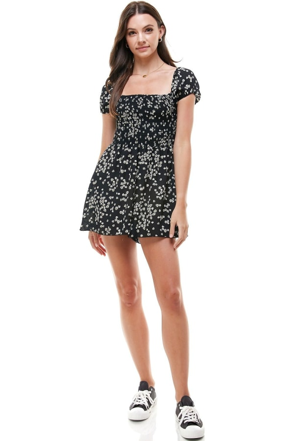 Daisy Floral Smocked Top Romper
