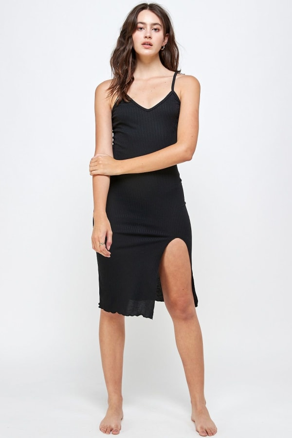 Rib Jersey Slit Front Fitted Tank Dress