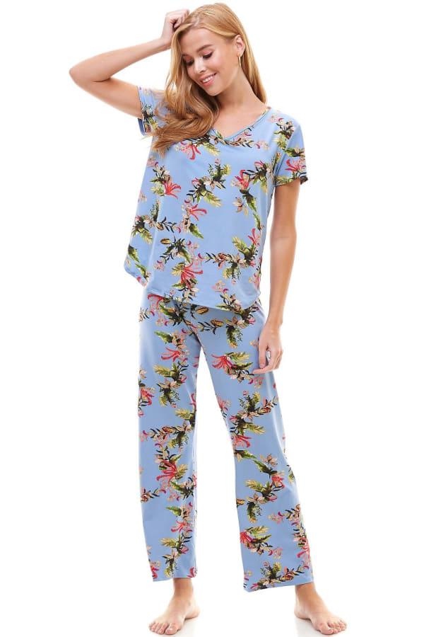 Loungewear Set For Women's Pajama Short Sleeve And Pants Set