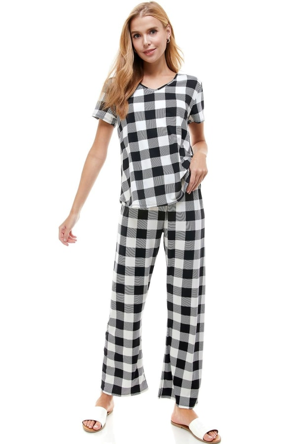 Women's Loungewear Set Checker Printed Pajama Short Sleeve And Pants Set - Black - Front