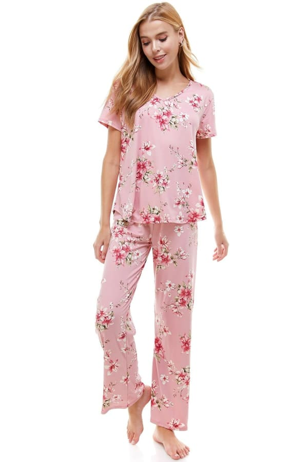 Women's Loungewear Set Floral Printed Pajama Short Sleeve And Pants Set