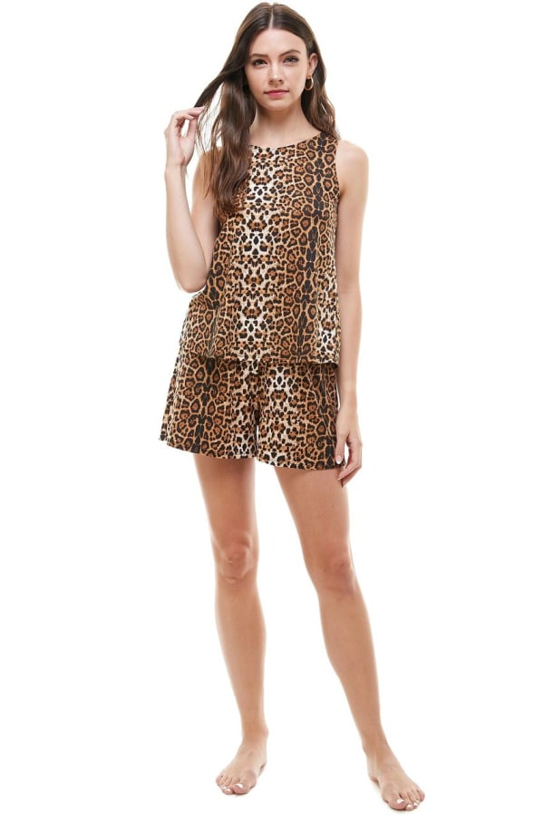 Animal Printed Sleeveless Top and Short Loungewear Set - Leopard - Front