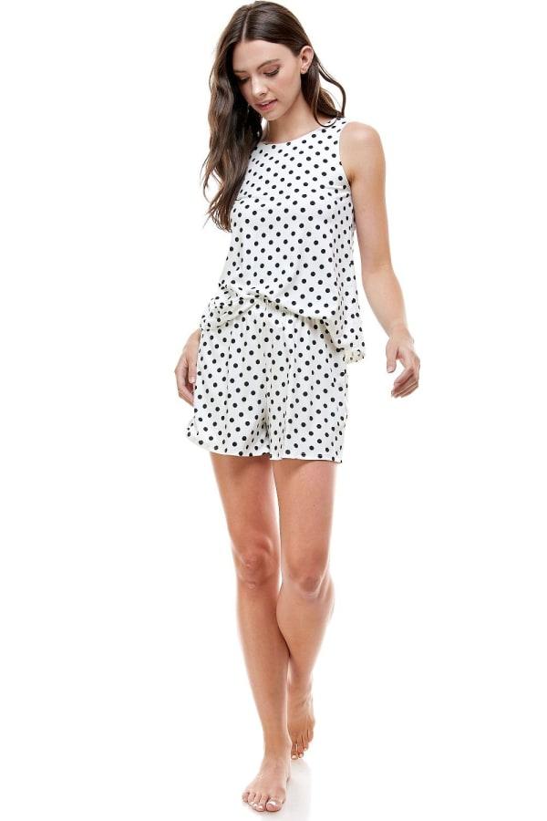 Loungewear Set Polka Dots Pajama - Ivory - Front