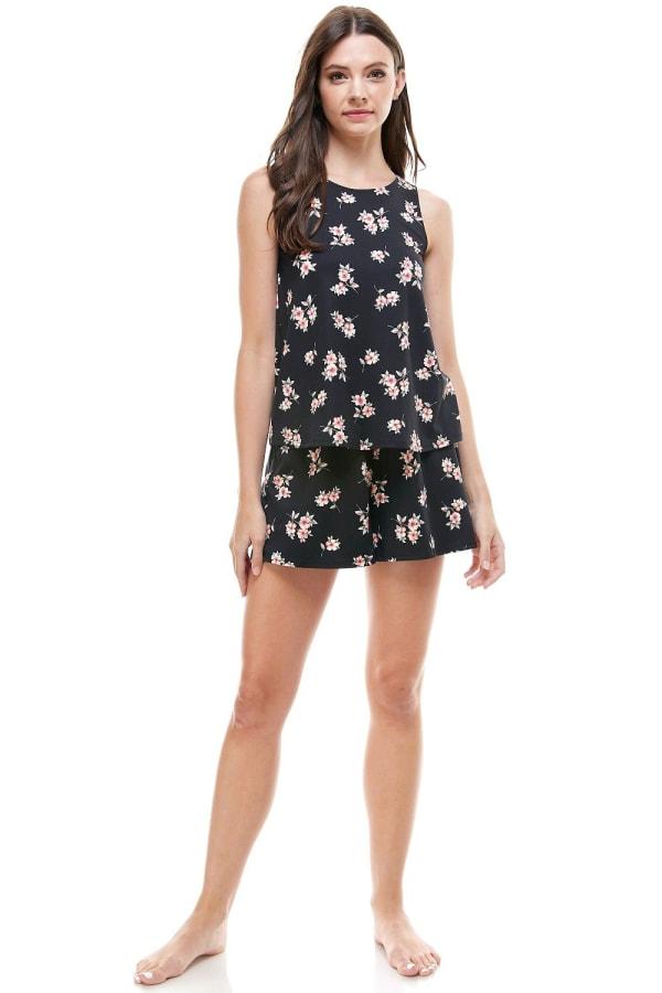 Loungewear Set Floral Print Pajama - Black - Front