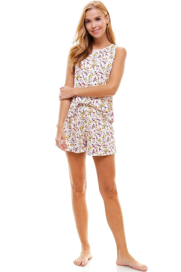 Ditsy Printed Sleeveless Top And Short Loungewear Set