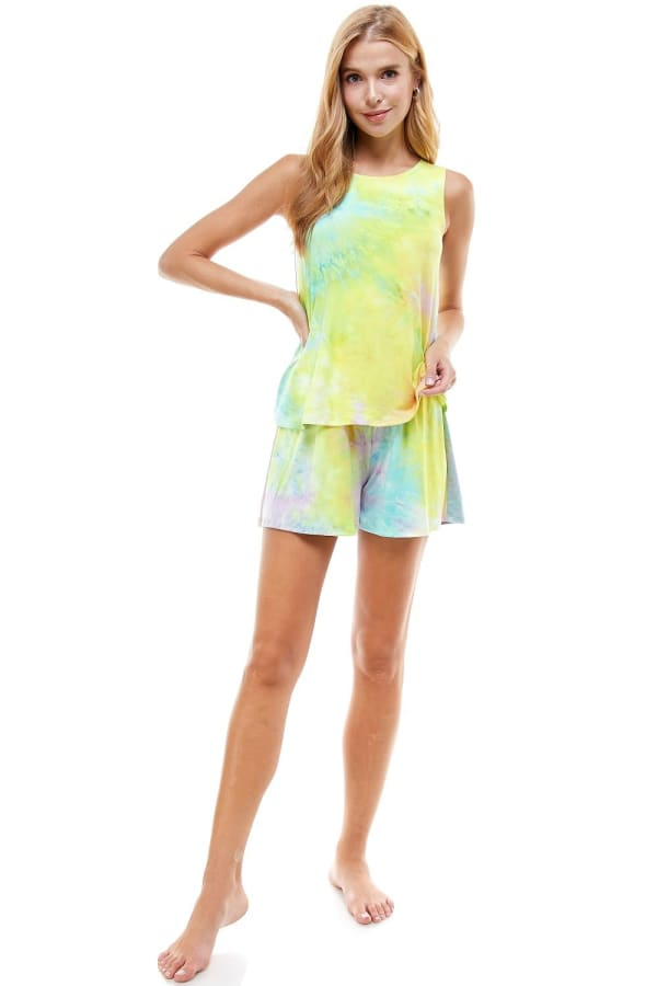 Sleeveless Top and Short Loungewear Set - Yellow / Purple - Front