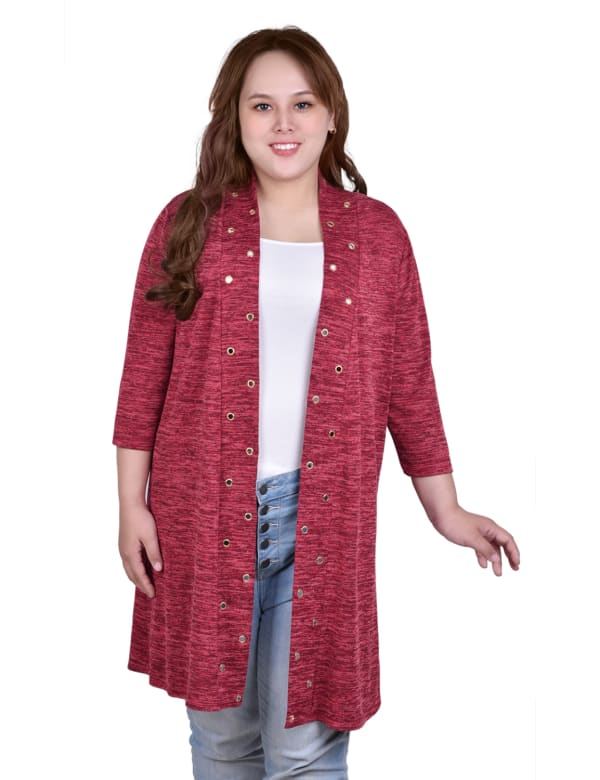 3/4 Sleeve Cardigan With Grommets - Plus