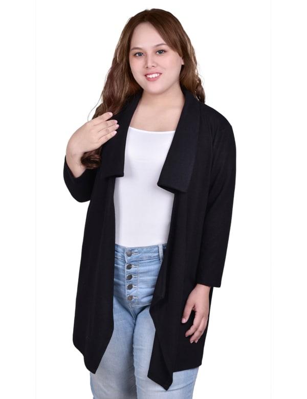 Elbow Sleeve Wide Lapel Cardigan - Plus