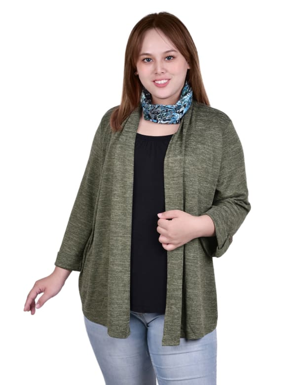 3/4 Sleeve Roll Tab Cardigan With Inset And Printed Scarf - Plus