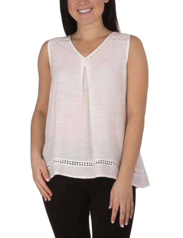 Sleeveless V-Neck Top With Beads