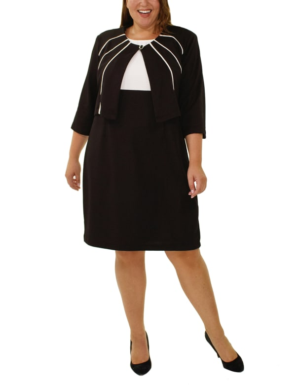 3/4 Sleeve Jacket Over Color-Blocked Sleeveless Dress - Plus