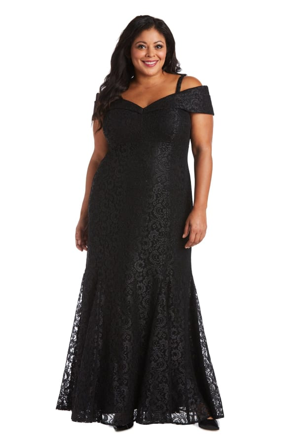 Off the Shoulder Glitter Lace Gown Godet Pleats at Hem - Plus - black - Front