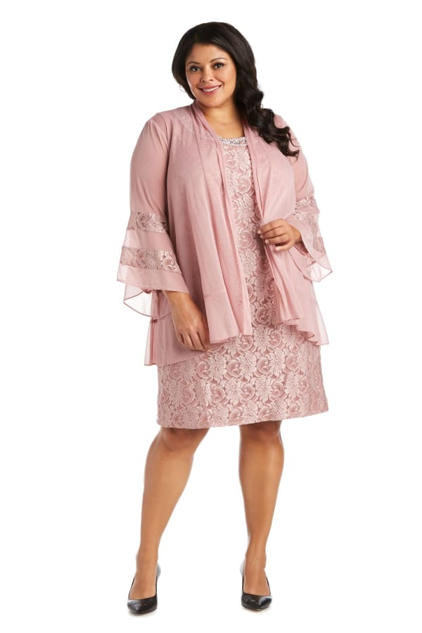 Chiffon Jacket and Dress with Bell Sleeves - Plus - Plum - Front
