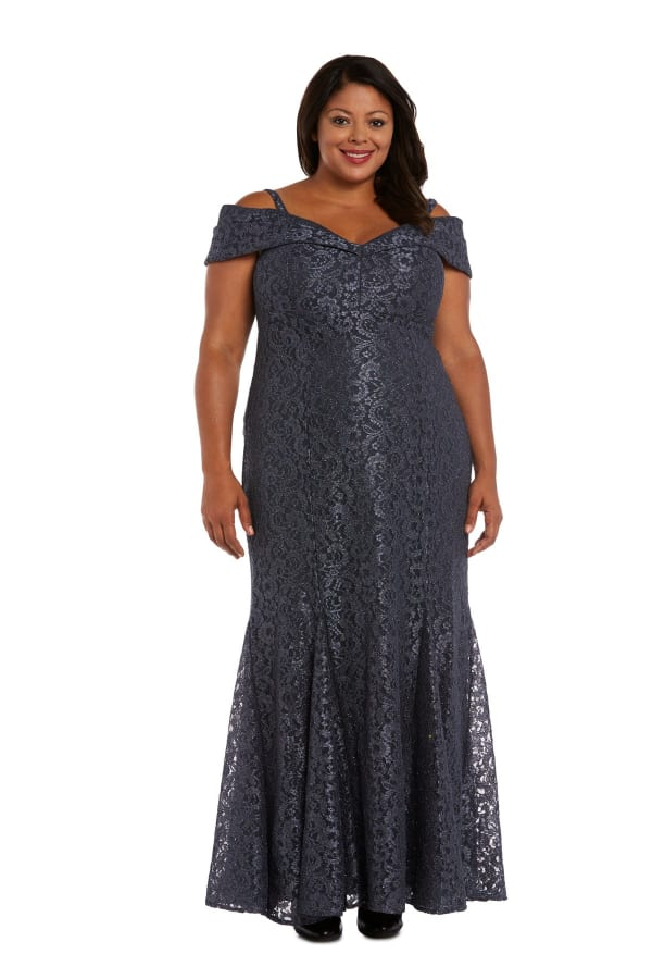 Off the Shoulder Glitter Lace Gown Godet Pleats at Hem - Plus - steel - Front