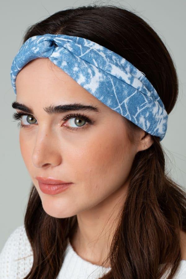 Tie Dye and Paisley Print Denim Chunky Headwrap