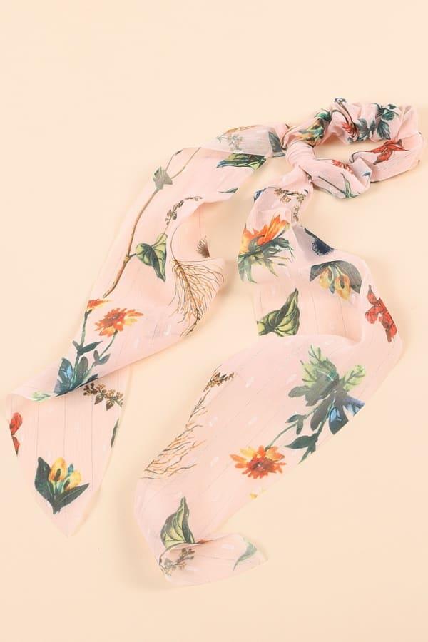 Floral Print Ponytail Scarf Scrunchy