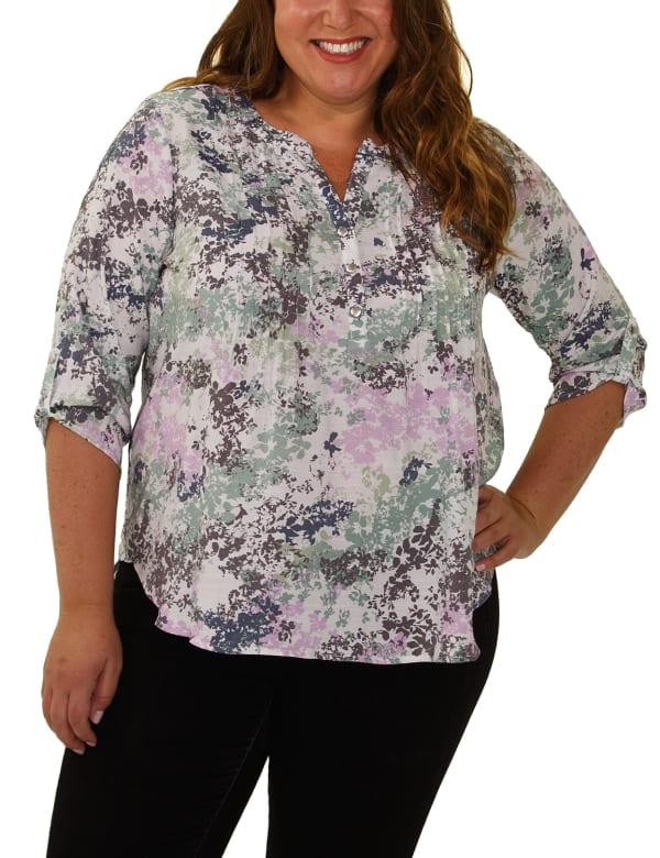 Slubbed Roll Tab sleeve blouse - Plus