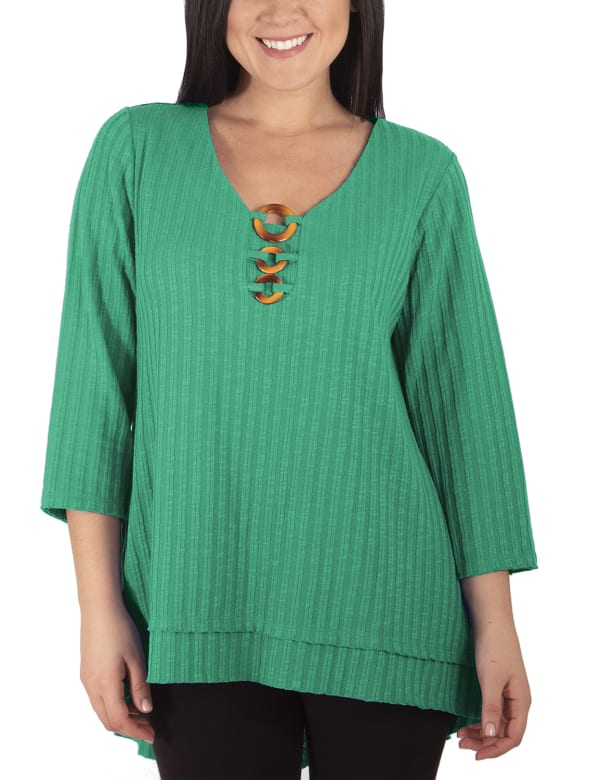 3/4 Sleeve Ribbed Top With 3 Ring Detail - Petite
