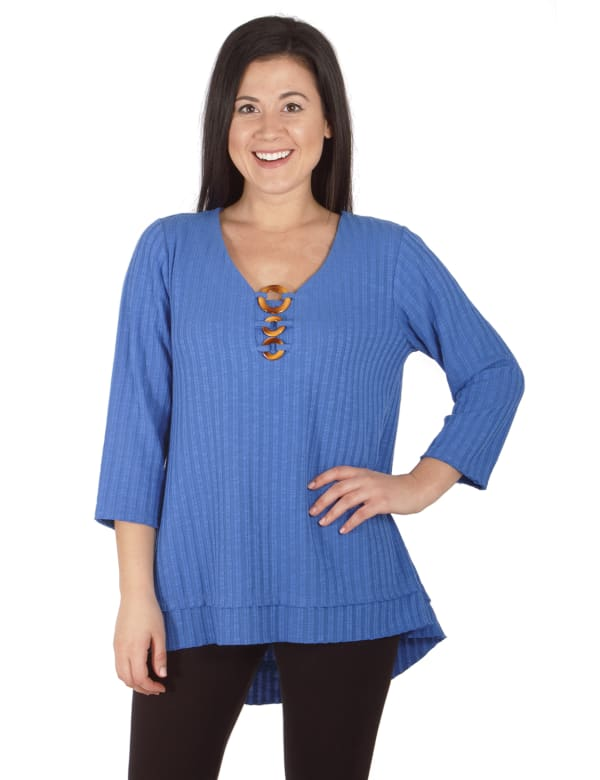 Three Quarters Sleeve Ribbed Top With 3 Ring Detail - Petite
