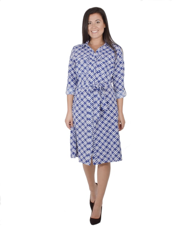 3/4 Belted Rolled Tab Sleeve Shirtdress With Patch Pockets - Petite