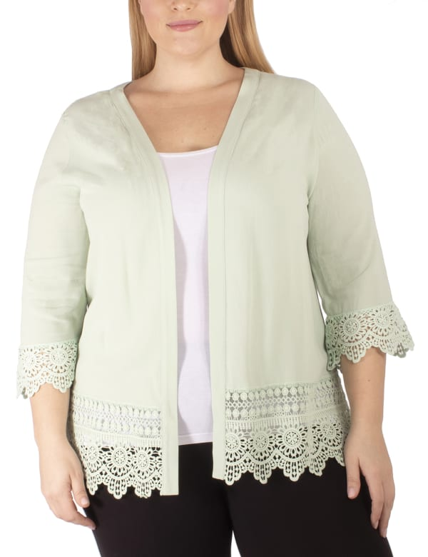 3/4 Sleeve Cardigan With Crochet Detail - Plus