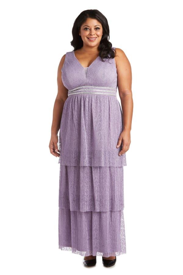 Long Crinkle Lace Sleeveless Dress  - Plus