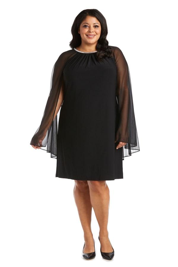 Short Chiffon Dress With Rhinestone Neckline - Plus