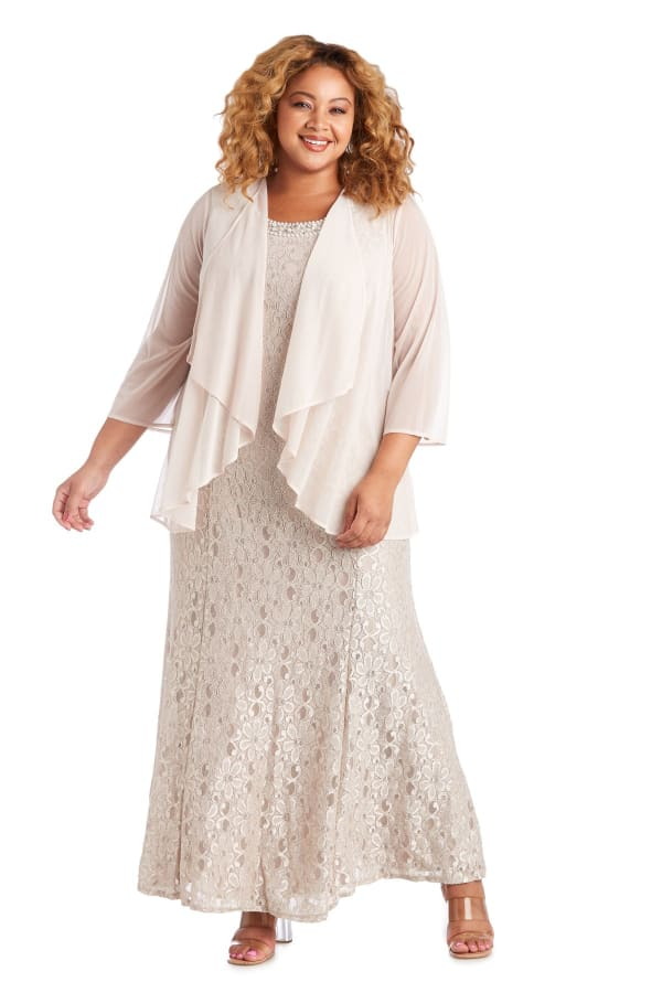Long Flyaway Sheer Jacket Over Lace Aline Dress With Beaded Necklace - Plus