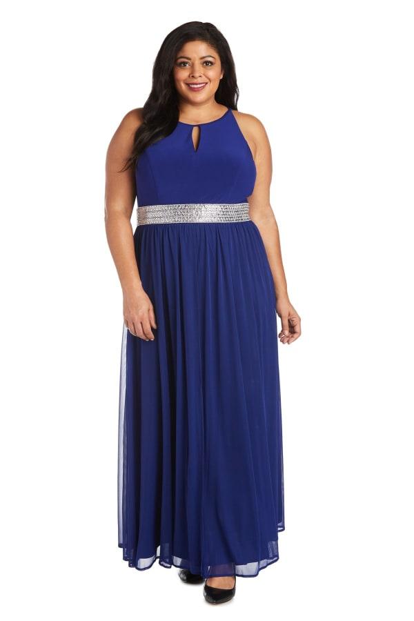 Maxi Dress with  Embellished Waist Band and Keyhole Cutout-Plus