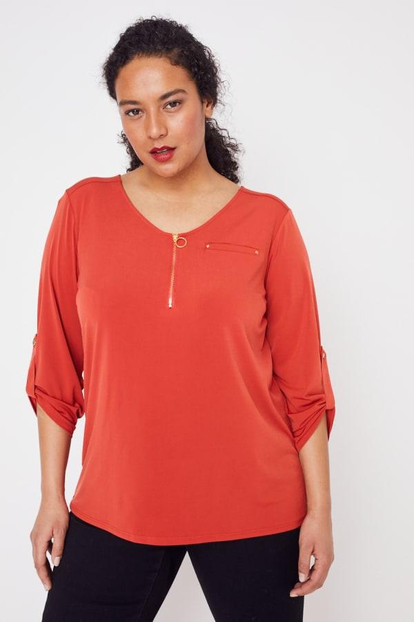 Roz & Ali Zip Front Knit Top - Plus